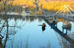 Drahtseilbahn über Dnieper-Fluss in Kyiv, Ukraine Stockfotos