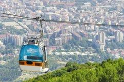 Drahtseilbahn auf Vodno-Berg, Skopje stockfotografie
