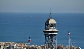 Drahtseilbahn des Hafens von Barcelona Lizenzfreie Stockfotos