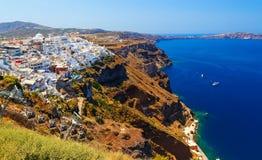 Drahtseilbahn, die den Fira-Hafen mit der Stadt in Santorini, Griechenland anschließt lizenzfreie stockfotografie