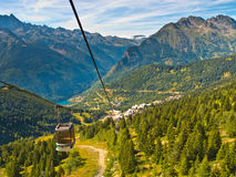 Drahtseilbahn-Franzose-Alpen Lizenzfreies Stockbild