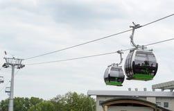 Drahtseilbahn im schlesischen Park Stockfotografie