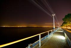 Drahtseilbahn nachts Stockfotos