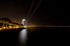 Drahtseilbahn nachts Stockbilder