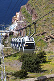 Drahtseilbahn in Santorini Insel in Griechenland stockfotos
