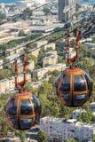 Drahtseilbahn von der Spitze Carmel Mountains in Haifa lizenzfreie stockfotos