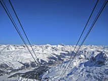 Drahtseilbahn-Winter die Schweiz Lizenzfreies Stockfoto