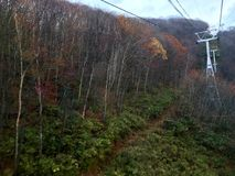 Drahtseilbahn zum Hügel im Herbst stockfotos