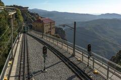 Drahtseilbahnlinie bei Montserrat Lizenzfreie Stockfotografie