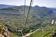 Drahtseilbahnstation auf Bergen Montserrat Stockfotografie
