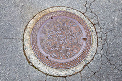 Drain cap art on the surface of sewer cover on the walk Stock Images