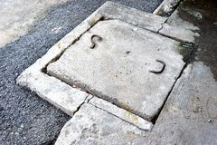Drain cap. Made of cement that are eroding Royalty Free Stock Images