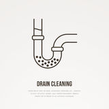 Drain cleaning flat line icon. Outline sign of blocked water pipe. Vector illustration for repair or plumbing service Royalty Free Stock Image