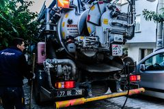 Drain Cleaning Truck. Multipurpose drain cleaning truck that belongs to local municipality of a small summer town named Cinarcik located in Marmara region of the Stock Image