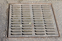 Drain Grate. Sewer grate that drains water from a parking lot Royalty Free Stock Image