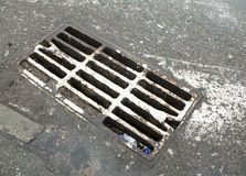 Drain grate on the road Royalty Free Stock Photo