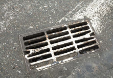 Drain grate on the road Royalty Free Stock Image