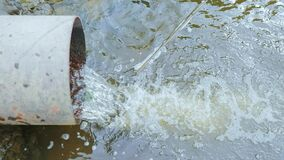 Drain pipe, sewer release wastewater into river, water that has been use