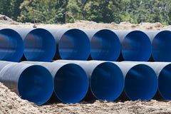 Drain steel pipes Stock Photo