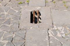 Drain for water, piazza Duomo, Orvieto, Italy Royalty Free Stock Photos