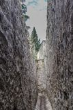 Drainage canal between the sillar stone walls royalty free stock photos
