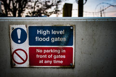 Drainage channel warning sign Royalty Free Stock Photography
