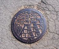 Drainage cover at Shirakawa-go village, Japan 8 Stock Photo