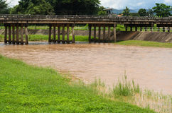 Drainage at dam when floods in the rainy season Stock Image