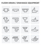Drainage equipment icon. Floor drain or drainage equipment vector icon set Royalty Free Stock Photo