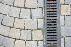 Drainage on pedestrian street Royalty Free Stock Images