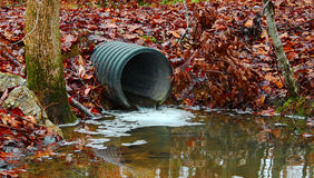 Drainage pipe. A waste water drainage pipe redirecting water and polluting the environment as well Royalty Free Stock Images