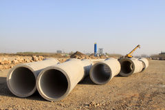 Drainage pipe construction site Royalty Free Stock Photo