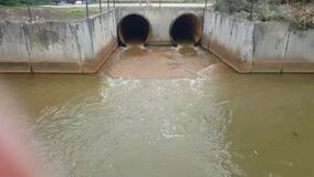 Drainage pipe or waste water or storm sewer drainage. Sewage