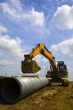 Drainage pipeline. Concrete drainage pipes ready for underground installation Stock Photography