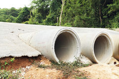 Drainage pipes. Concrete drainage pipes on construction site Stock Images