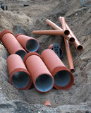 Drainage Pipes. Large Diameter Drainage Pipes Being Installed Royalty Free Stock Images