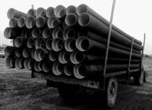 Drainage plastic pipes stock images