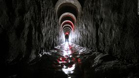 World without human being. Drainage system Kyiv Ukrain Built in 1916 It is a part of 50km long system of drainage tunnels stock photo