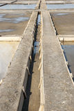 Drainage system between salt evaporation ponds Stock Image