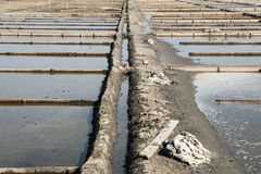 Drainage system between salt evaporation ponds Stock Photo