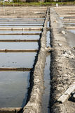Drainage system between salt evaporation ponds Royalty Free Stock Photos