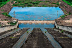 Drained dam. And green grass Royalty Free Stock Images