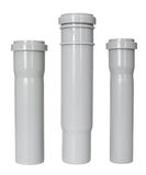 Draining pipes. Three different PVC fittings - draining straight pipes Stock Image