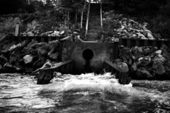 Drains of the chagrin river. Photography studio modern stock photos