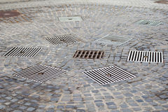Drains in the city. Close up picture of a drains in the middle of a romanian city Royalty Free Stock Photos