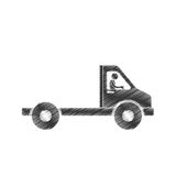 Draiwng man towing truck service figure pictogram. Illustration eps 10 Royalty Free Stock Photo