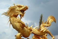 Drakar i templet med himmel Arkivbilder