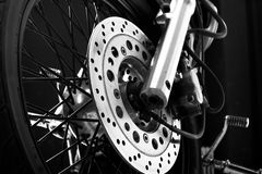 Drake disc on motorcycle wheel Royalty Free Stock Images