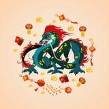 Drake för traditionell kines, forntida symbol av asiatet eller porslinkultur, garnering för beröm för nytt år, mytologi royaltyfri illustrationer