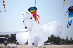 drake för vit häst med himmel royaltyfri foto